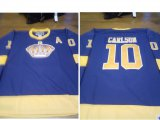 Cheap Men's Los Angeles Kings #10 Carlson Purple Yellow CCM Throwback Jersey