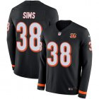 Cheap Nike Bengals #38 LeShaun Sims Black Team Color Youth Stitched NFL Limited Therma Long Sleeve Jersey