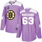 Cheap Adidas Bruins #63 Brad Marchand Purple Authentic Fights Cancer Stanley Cup Final Bound Youth Stitched NHL Jersey