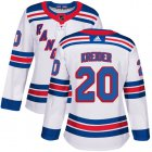 Cheap Adidas Rangers #20 Chris Kreider White Road Authentic Women's Stitched NHL Jersey