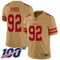 Cheap Nike 49ers #92 Kerry Hyder Gold Men's Stitched NFL Limited Inverted Legend 100th Season Jersey