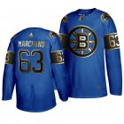 Cheap Adidas Bruins #63 Brad Marchand 2019 Father's Day Black Golden Men's Authentic NHL Jersey Royal