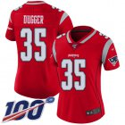 Cheap Nike Patriots #35 Kyle Dugger Red Women's Stitched NFL Limited Inverted Legend 100th Season Jersey