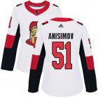Cheap Adidas Senators #51 Artem Anisimov White Road Authentic Women's Stitched NHL Jersey