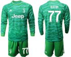 Cheap Juventus #77 Buffon Green Goalkeeper Long Sleeves Soccer Club Jersey