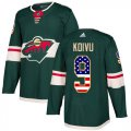 Cheap Adidas Wild #9 Mikko Koivu Green Home Authentic USA Flag Stitched Youth NHL Jersey