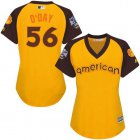 Cheap Orioles #56 Darren O'Day Gold 2016 All-Star American League Women's Stitched MLB Jersey