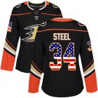 Cheap Adidas Ducks #34 Sam Steel Black Home Authentic USA Flag Women's Stitched NHL Jersey