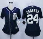Cheap Tigers #24 Miguel Cabrera Navy Blue Women's Fashion Stitched MLB Jersey