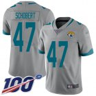 Cheap Nike Jaguars #47 Joe Schobert Silver Youth Stitched NFL Limited Inverted Legend 100th Season Jersey