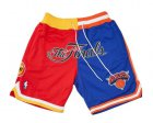 Cheap 1994 NBA Finals Rockets x Knicks Shorts (Red-Blue) JUST DON By Mitchell & Ness