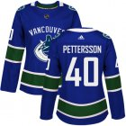 Cheap Adidas Canucks #40 Elias Pettersson Blue Home Authentic Women's Stitched NHL Jersey