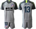 Cheap Atletico Madrid #13 Oblak Grey Goalkeeper Soccer Club Jersey
