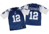 Cheap Nike Cowboys #12 Roger Staubach Navy Blue/White Throwback Men's Stitched NFL Elite Jersey