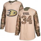 Cheap Adidas Ducks #34 Sam Steel Camo Authentic 2017 Veterans Day Youth Stitched NHL Jersey