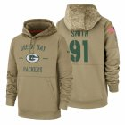 Cheap Green Bay Packers #91 Preston Smith Nike Tan 2019 Salute To Service Name & Number Sideline Therma Pullover Hoodie