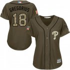 Cheap Phillies #18 Didi Gregorius Green Salute to Service Women's Stitched MLB Jersey