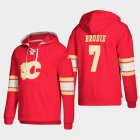 Cheap Calgary Flames #7 TJ Brodie Red adidas Lace-Up Pullover Hoodie