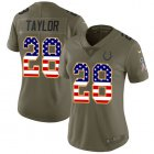 Cheap Nike Colts #28 Jonathan Taylor Olive/USA Flag Women's Stitched NFL Limited 2017 Salute To Service Jersey