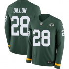 Cheap Nike Packers #28 AJ Dillon Green Team Color Youth Stitched NFL Limited Therma Long Sleeve Jersey