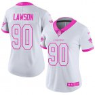 Cheap Nike Dolphins #90 Shaq Lawson White/Pink Women's Stitched NFL Limited Rush Fashion Jersey