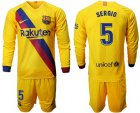 Cheap Barcelona #5 Sergio Away Long Sleeves Soccer Club Jersey