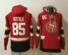 Cheap Men's San Francisco 49ers #85 George Kittle NEW Red Pocket Stitched NFL Pullover Hoodie