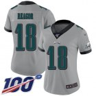 Cheap Nike Eagles #18 Jalen Reagor Silver Women's Stitched NFL Limited Inverted Legend 100th Season Jersey
