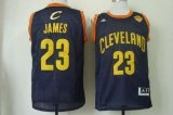 Cheap Men's Cleveland Cavaliers #23 LeBron James 2015 The Finals Navy Blue With Gold Swingman Jersey