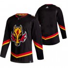 Cheap Calgary Flames Blank Black Men's Adidas 2020-21 Reverse Retro Alternate NHL Jersey