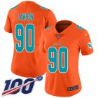 Cheap Nike Dolphins #90 Shaq Lawson Orange Women's Stitched NFL Limited Inverted Legend 100th Season Jersey