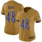 Cheap Nike Ravens #48 Patrick Queen Gold Women's Stitched NFL Limited Inverted Legend Jersey