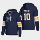 Cheap St. Louis Blues #10 Brayden Schenn Blue adidas Lace-Up Pullover Hoodie