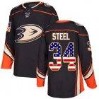 Cheap Adidas Ducks #34 Sam Steel Black Home Authentic USA Flag Youth Stitched NHL Jersey