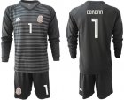 Cheap Mexico #1 Corona Black Long Sleeves Goalkeeper Soccer Country Jersey