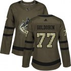 Cheap Adidas Canucks #77 Nikolay Goldobin Green Salute to Service Women's Stitched NHL Jersey