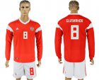 Cheap Russia #8 Glushakov Red Home Long Sleeves Soccer Country Jersey