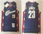 Cheap Men's Cleveland Cavaliers #23 LeBron James 2003-04 Navy Blue Hardwood Classics Soul Swingman Throwback Jersey
