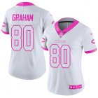Cheap Nike Bears #80 Jimmy Graham White/Pink Women's Stitched NFL Limited Rush Fashion Jersey