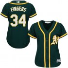 Cheap Athletics #34 Rollie Fingers Green Alternate Women's Stitched MLB Jersey