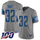 Cheap Nike Lions #32 D'Andre Swift Gray Men's Stitched NFL Limited Inverted Legend 100th Season Jersey