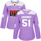 Cheap Adidas Senators #51 Artem Anisimov Purple Authentic Fights Cancer Women's Stitched NHL Jersey