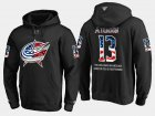 Cheap Blue Jackets #13 Cam Atkinson NHL Banner Wave Usa Flag Black Hoodie