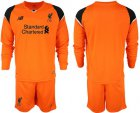 Cheap Liverpool Blank Orange Goalkeeper Long Sleeves Soccer Club Jersey