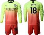 Cheap Manchester City #18 Delph Third Long Sleeves Soccer Club Jersey