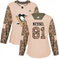 Cheap Adidas Penguins #81 Phil Kessel Camo Authentic 2017 Veterans Day Women's Stitched NHL Jersey