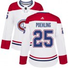 Cheap Adidas Canadiens #25 Ryan Poehling White Road Authentic Women's Stitched NHL Jersey