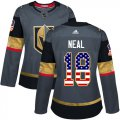 Cheap Adidas Golden Knights #18 James Neal Grey Home Authentic USA Flag Women's Stitched NHL Jersey