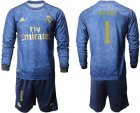 Cheap Real Madrid #1 Navas Away Long Sleeves Soccer Club Jersey
