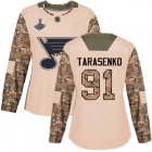 Cheap Adidas Blues #91 Vladimir Tarasenko Camo Authentic 2017 Veterans Day Stanley Cup Champions Women's Stitched NHL Jersey